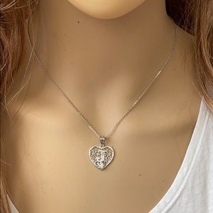 Sterling Silver Heart Initial Letter J Necklace